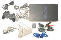 Sony PlayStation 2 Midnight Black Console MEMORY CORDS AND CONTROLLER