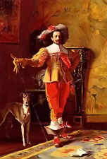 Oil painting johann hamza - a cavalier and his hound dog Hand painted