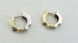 14K Two Tone Gold Half Yellow/White Matte Huggie Earrings 14.5mm 5.1g S2987