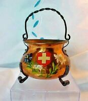 COPPER CAULDRON - POT VINTAGE Miniature HAMMERED SWITZERLAND, CAST LEGS & HANDLE