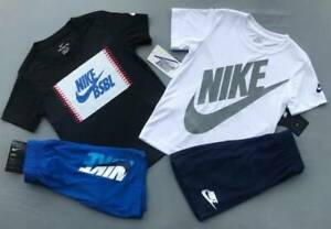 BOY'S SIZE 7 NIKE WHITE AND BLACK SHORTS OUTFITS LOT NWT