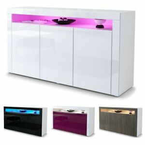 LED Sideboard Cabinet Cupboard Unit Storage Buffets Kitchen with High Gloss Door