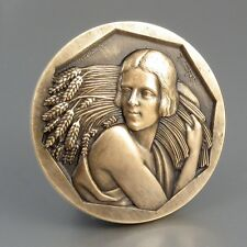 VintageFrench Art Deco BronzeMedal, Woman, Sheaf of Wheat,Signed Cochet