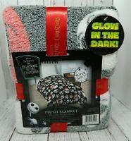 Nightmare Before Christmas Jack Glow in Dark Plush Blanket Black 60 x 90 NEW