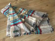 VINTAGE SCOTTS OF STOW BRITISH ALL WOOL BLANKET THROW MULTICOLOURED VGC 165x115