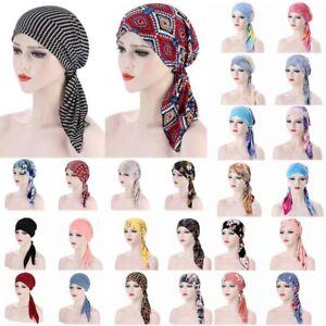 Women Muslim Hijab Cancer Chemo Sleep Hat Turban Cap Cover Hair Loss Head Scarf.