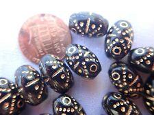 22 BLACK GOLD inlay 8x13 oval Czech pressed glass beads