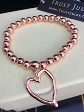 Luxurious Designer Rose Gold One Size Heart Stretch Bracelet - Gift Packaged
