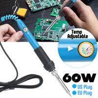 60W 110V / 220V Adjustable Electric Temperature Soldering Iron Welding Heat  !