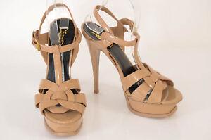 Saint Laurent nude 8.5 38.5 woven platform ankle strap sandal shoe NEW $895