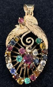 14K Yellow Gold Multi Gem Ruby Emerald Sapphire Pendant, Filigree, Engraved MCM