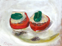 Tomato Slices with cheese and mint leaves Still Life oil painting 7 x 10in