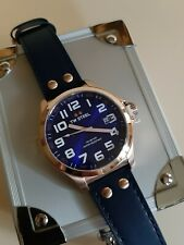 Tw steel pilot tw 404 analog mens 45mm blue dial leather watch rosegold tone