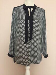 M&S Marks Spencer Black Geometric Pattern Bow Neck Long Sleeve Shirt Size 10