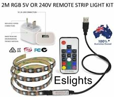 2M 240V OR 5V RGB LED STRIP LIGHT COLOUR USB KIT BACKGROUND LIGHTING TV LAPTOP