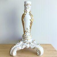 Antique Vintage Porcelain Gold Paint Candlestick Candle Holder Hollywood Regency