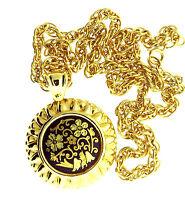 Vintage Damascene Floral Enamel Pendant Necklace Chain Gold Tone