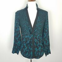 Diane Von Furstenberg Long Sleeve V-Neck Silk Blouse Print Front Twist Size 8