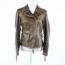 Cool brown 100% leather CRISCA long sleeve motorcycle jacket IT36 2