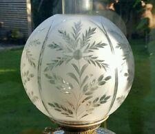 "Victorian Wheel Cut Glass Oil Lamp Shade Duplex 4"" Acer Japanese maple -as found"