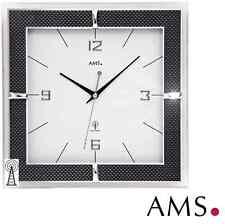 AMS 5855 Wanduhr Funk Mineralglas Carbon-applikationen