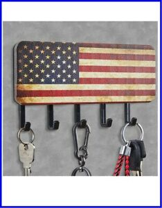 Key & Mail Holder Wall Rustic American Flag Design 5 Key Hooks Mail Organizer