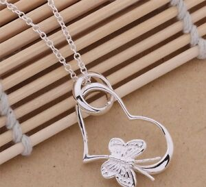 Silver Plated Butterfly & Heart Necklace & Pendant.18 inches.Womens 925 Sterling