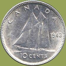 1943 Canada Silver 10 Cent Coin (2.33 grams .800 Silver)