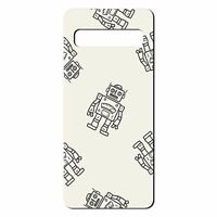 For Samsung Galaxy S10 PLUS Silicone Case Robots Kids Grey - S1915