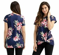 Ladies Navy Adorable Knot Front Detail Navy Floral Tank Top 8 10 12 14 16 18 20