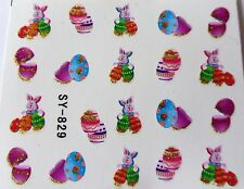 "Glittery 3D Nail Art Sticker ""Easter Bunny Gold Pink Egg"" Water Decals *NEW* 829"