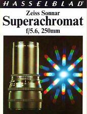 1976 HASSELBLAD 250mm f/5.6 ZEISS SONNAR SUPERACHROMAT CAMERA LENS BROCHURE
