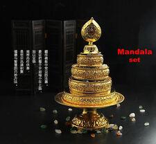 Tibetan Buddhism Altar Mandala Manza Set Tray Gilded Buddhist Offering