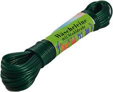 Wäscheleine Grün 20m mit Stahleinlage Wäsche Leine  Stahlseil Schnur extra stark