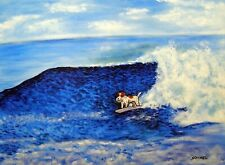 Jack Russell terrier dog surfing 13x19 art Print glossy animals