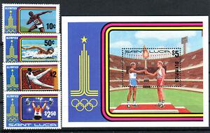 Briefmarken St. Lucia 1980 ** Postfrisch Nr: 514 - 517 + Bl 24 Olympiade BR429