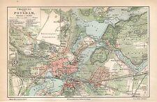 POTSDAM BABELSBERG BORNSTEDT Sanssouci Lustgarten Saerow  LITHOGRAPHIE 1909