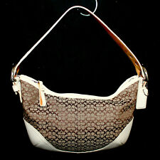 COACH SoHo Signature Hobo 6351 Brown Khaki Jacquard Fabric Ivory Leather