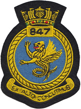 847 NAS Naval Air Squadron Royal Navy FAA Crest MOD Embroidered Patch