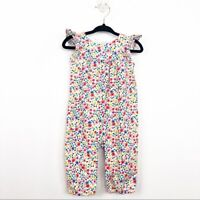 Baby Gap Size 3-6 Months Ivory Frost Floral Baby Flutter One Piece Jumpsuit Girl