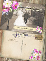 PERSONALISED VINTAGE POSTCARD PHOTO FLORAL WEDDING THANK YOU CARDS(PACKS OF 10)