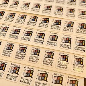 Windows 95 98 NT 3.1 Ready to Run Custom Vintage Computer Case Badge Sticker WHT