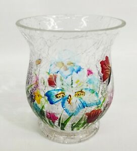 YANKEE CANDLE Tealight Votive Holder WILDFLOWER Crackle Glass