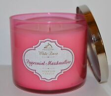 BATH BODY WORKS PEPPERMINT MARSHMALLOW CANDLE 3WICK 14.5OZ LARGE WHITE BARN PINK