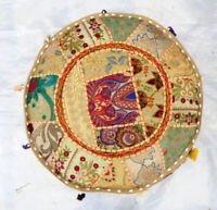Vintage Round Ottoman Cover Embroidered Pouffe Footstool Bean Bag Bohemian