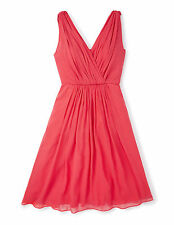 NWT ORG $368 BODEN COCKTAIL PARTY CORAL RED SILK PLAZA DRESS BR037 - SIZE US 8