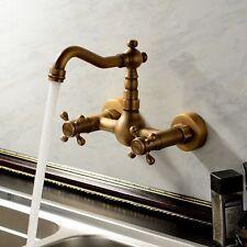 Antique Brass Swivel Kitchen Faucet Wall Mounted Bathroom Sink Mixer Tap Zsf002