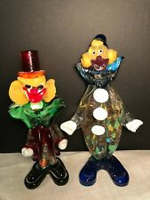 "Vtg Murano Studio Blown Glass Clown Pair Statue Figurine 10"" Aventurine w/ Tag"