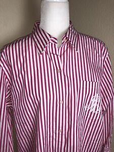 LRL Ralph Lauren Women Pink/Whit Striped Button Down anchor monogram Embroidered