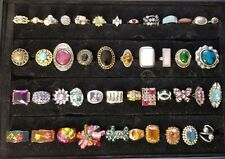 45 Assorted Vintage Costume Jewellery Dress Rings and Display Stand.